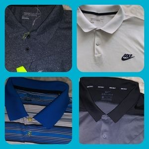 LOT OF 4 Men's XXL Nike Golf Dri-Fit Polo Shirts